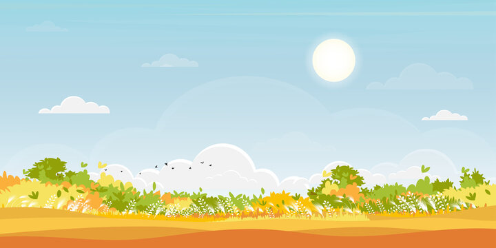 Hello Autumn background with Natural forest landscape with lawn grass field and hills,Vector nature with a meadow on hills and blue sky on sunny day, Backdrop Flat art cartoon style for fall season