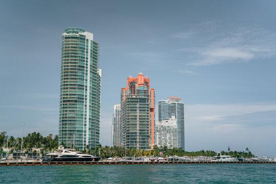 residential area Miami Beach south pointe buildings park blue sky sea boats marina