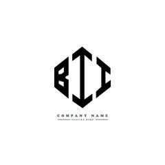 BII letter logo design with polygon shape. BII polygon logo monogram. BII cube logo design. BII hexagon vector logo template white and black colors. BII monogram, BII business and real estate logo.