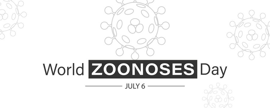 Vector Illustration of World Zoonoses Day July 6.  Zoonotic diseases like Ebola SARS, Rabies, etc.