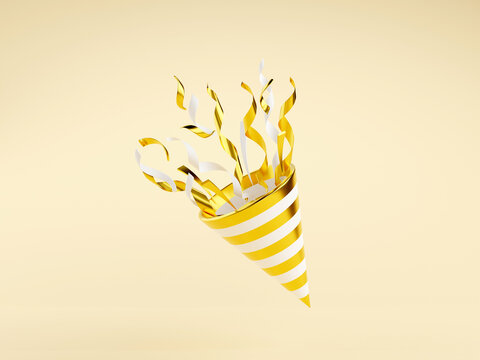 Golden party popper with flying confetti 3d render illustration.