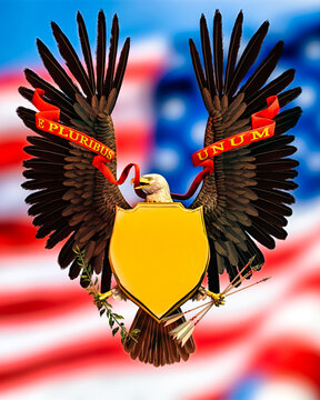 American Bald Eagle wings up holding a shield on it's chest. Holding arrows and olive branch in each claw. American flag background. Room for copy text.