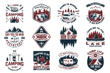 Fototapeta Set of camping badges with design element. Vector. Concept for shirt or logo, print, stamp or tee. obraz