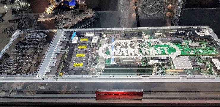 BUDAPEST, HUNGARY - Jun 06, 2021: World of Warcraft original server blade for Bloodscalp realm