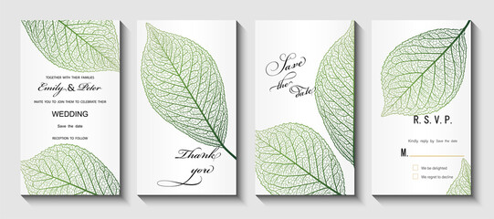 Fototapeta Wedding invitation.  Background with leaf vein. Vector illustration. obraz