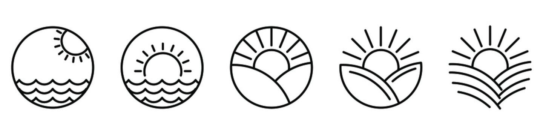 Sunset icon. Sun line icons. Vector illustration. Sunrise vector icons. Black linear icons