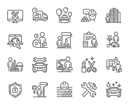 Professional services line icons. Car repair, Home cleaning, Engineering service line icons. Builder and Painter, Wrench tool with hammer, Car wash. Birthday events and internet services. Vector