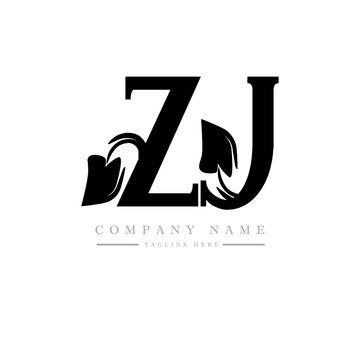 ZJ letter logo design. ZJ letter with leaf shape. ZJ Creative two letter logo. Two letters ZJ leaf logo. ZJ logo monogram with leaf nature organic shape.