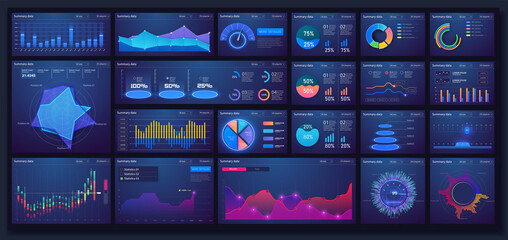 Different UI, UX, GUI mobile screens modern infographic. Template dashboard infographic, charts, graph and graphic UI, UX, KIT elements. Info chart elements for online statistics and data analytics. - fototapety na wymiar