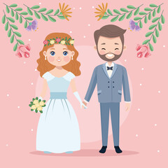 couple with floral decoration