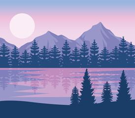wanderlust night lake scene