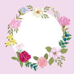 circular frame with flowers