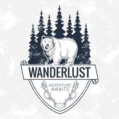 wanderlust lettering in bear