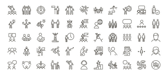 Set of 55 people icons. Vector thin line illustrations for concepts related with people, business, success, teamwork, workplace, diversity and many others