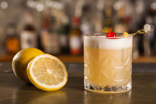 Amaretto Sour drink in a bar environment