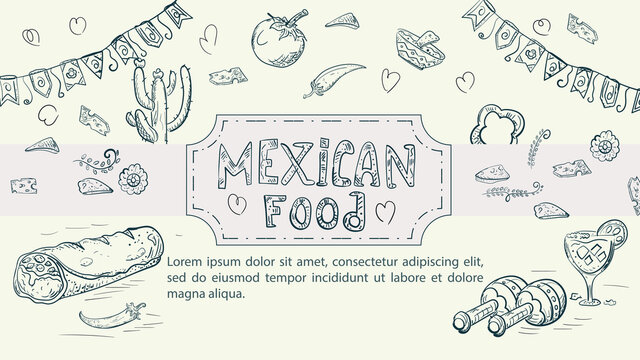 Illustration sketch made in the style of a doodle hand drawn for a design on the theme Mexican national food burrito dish chili pepper cacti maracas