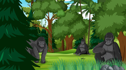 Gorilla family in forest or rainforest scene with many trees