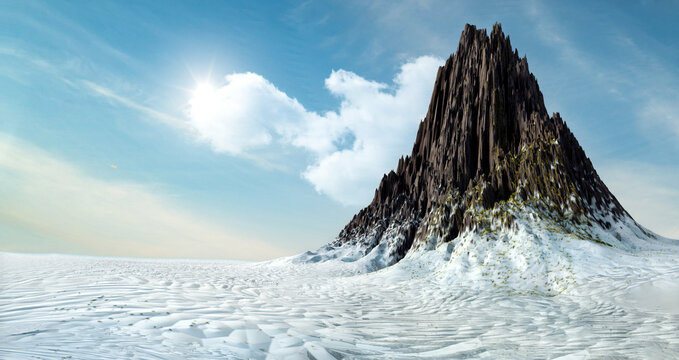 panorama of mountains, 3D render