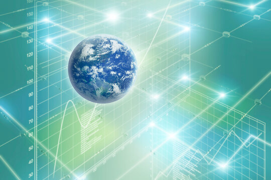 地球 世界 ワールド 通信 ネットワーク DX デジタル テクノロジー ビジネス 国際 空間 ブルー