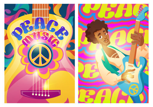 Peace music posters with hippie sign and man with guitar. Woodstock festival style. Vector flyers with cartoon psychedelic patterns. Retro music of 60s and 70s