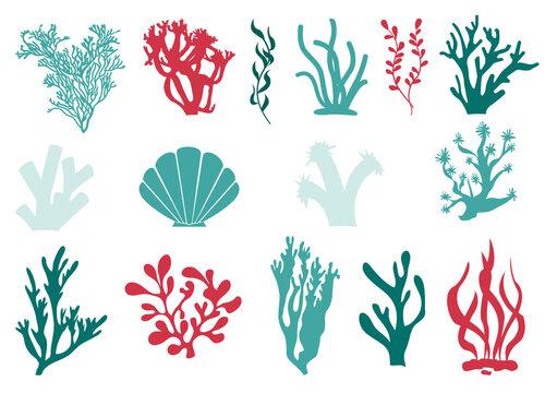 Under water marine coral and algae set.