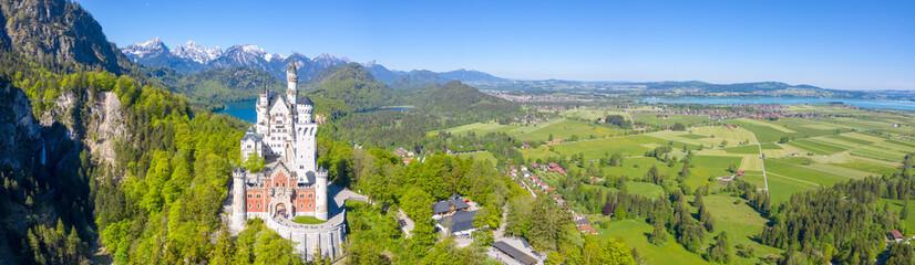 Schloss Neuschwanstein castle aerial view architecture Alps landscape Bavaria Germany travel panoramic view