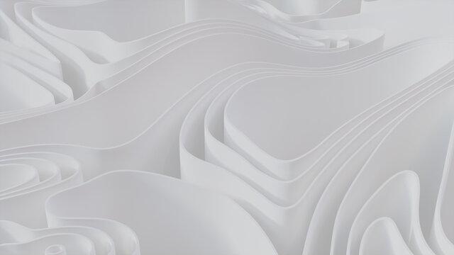 White 3D Waves form a Light abstract wallpaper. 3D Render.