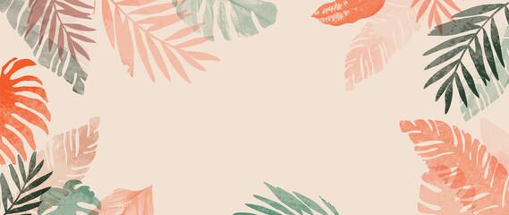Fototapeta Pink summer tropical background vector. Palm leaves, monstera leaf, Botanical background design for wall framed prints, wall art, invitation, canvas prints, poster, home decor, cover, wallpaper. obraz