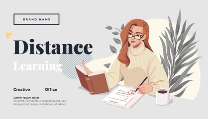 Landing page template for online courses, distance education, Internet studying, training. Yong female teacher having a lesson. Vector illustration - fototapety na wymiar