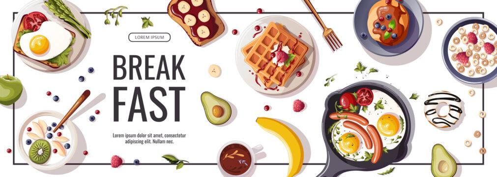 Promo flyer for breakfast menu, healthy eating, nutrition, cooking,  fresh food, dessert, diet, pastry, cuisine. Vector illustration for banner, flyer, cover, advertising, menu, poster.
