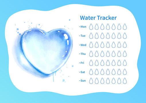 Water tracker with watercolor heart