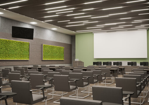 3d rendering of conference hall or lecture room interior design
