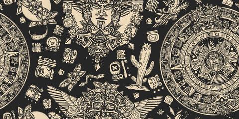 Obraz Mexican mesoamerican culture. Ancient Maya Civilization background. Aztec sun stone, golden totem and mayan glyphs seamless pattern - fototapety do salonu