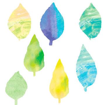 葉っぱの水彩ベクターイラストセット