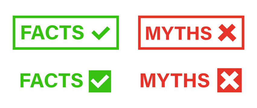 Myths vs facts concept on white background