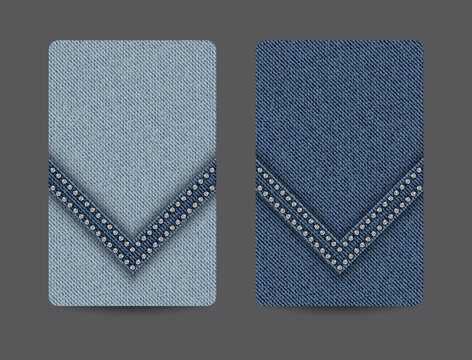 Card backgrounds with blue denim texture and wedge stripe with silver sequins