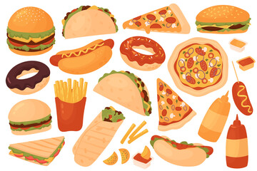 Fototapeta Fast food restaurant menu set vector illustration. Cartoon yummy fastfood meal sticker collection with delicious hot dog sandwich hamburger taco pizza donut french fries cheeseburger isolated on white obraz