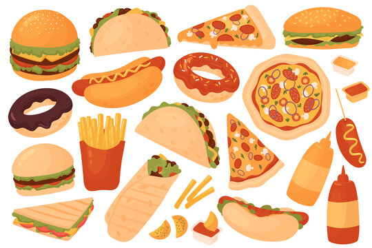 Fast food restaurant menu set vector illustration. Cartoon yummy fastfood meal sticker collection with delicious hot dog sandwich hamburger taco pizza donut french fries cheeseburger isolated on white