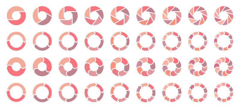 Set Tortendiagramme Pfeile Rosa Orange Lila