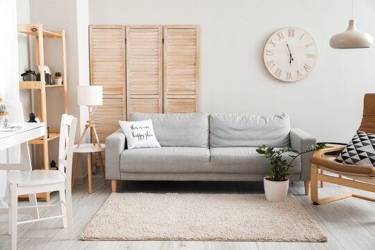 Interior of modern living room with wooden stadiometer