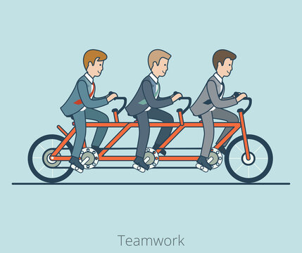 Linear Flat Three businessmen riding triple tandem bike vector illustration. Business corporate company team work concept.