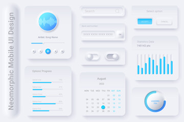 Obraz Neomorphic UI UX white design elements kit vector template for Mobile and Web apps Neomorphism style - fototapety do salonu