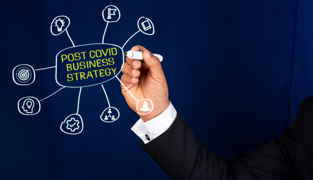 Businessman drawing about post covid business strategy