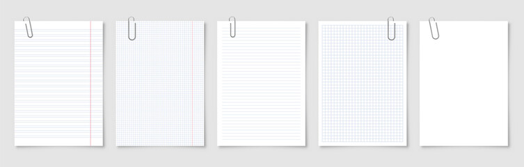 Obraz Realistic blank paper sheets in A4 format with metal clip, holder on gray background. Notebook page, document. Design template or mockup. Vector illustration. - fototapety do salonu