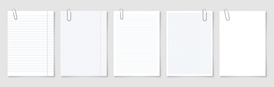 Realistic blank paper sheets in A4 format with metal clip, holder on gray background. Notebook page, document. Design template or mockup. Vector illustration.