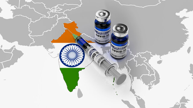 A syringe and two bottles of COVID-19 vaccine on a map of india. Covid vaccination in india. 3d illustration