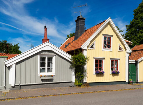 Picturesque old wooden houses in the old town of Kalmar, Sweden, in summer