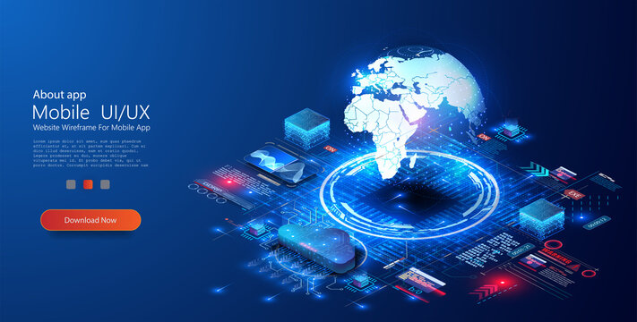 World wide web via wireless satellite network technology. Big data, cloud storage, global data technology, and the concept of remote access on a blue background. Digital Business Analysis. Vector