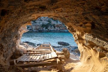 Obraz Beautiful Cala en Baster on the island of Formentera in the Balearic Islands in Spain - fototapety do salonu