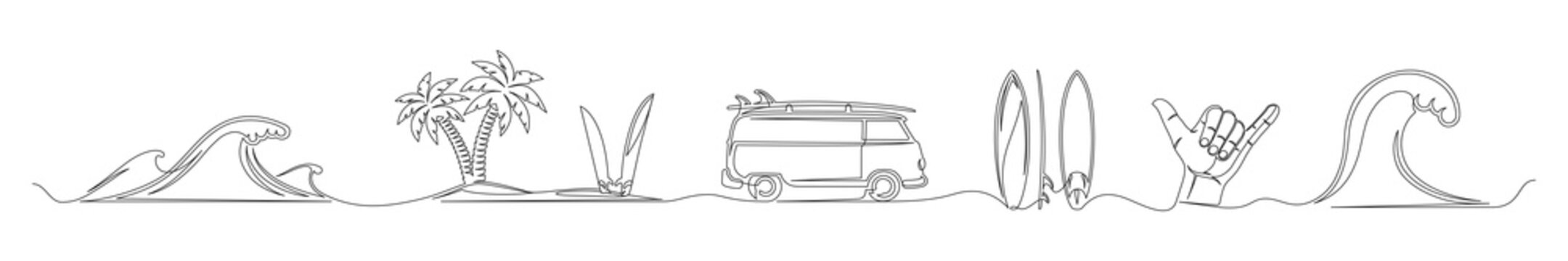 Set of continuous one line drawing of a surfing theme. One line of waves, palm trees, surfboards, camper, beach isolated on white background. Surfing concept. Vector illustration